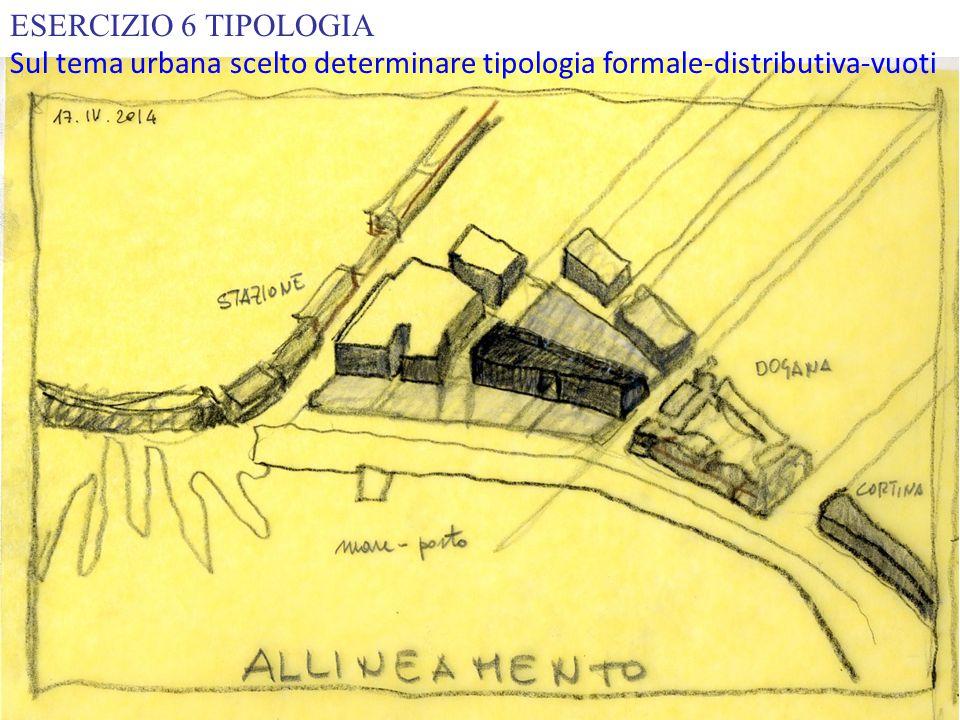 ESERCIZIO 6 TIPOLOGIA Sul tema urbana scelto determinare tipologia formale-distributiva-vuoti