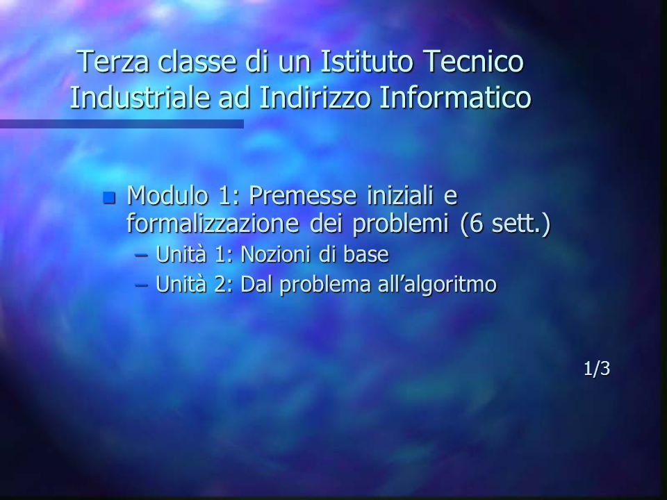 Terza classe di un Istituto Tecnico Industriale ad Indirizzo Informatico