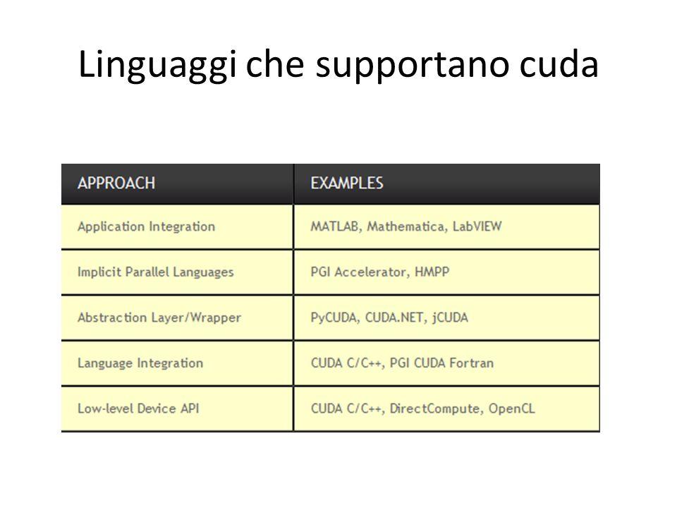 Linguaggi che supportano cuda