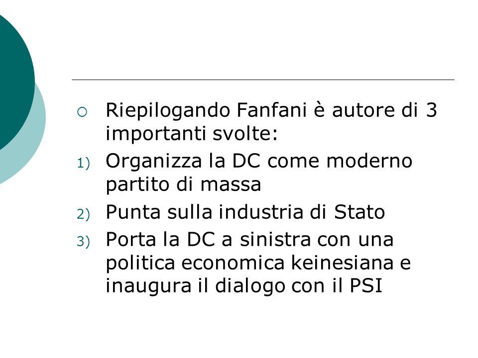 Riepilogando Fanfani è autore di 3 importanti svolte: