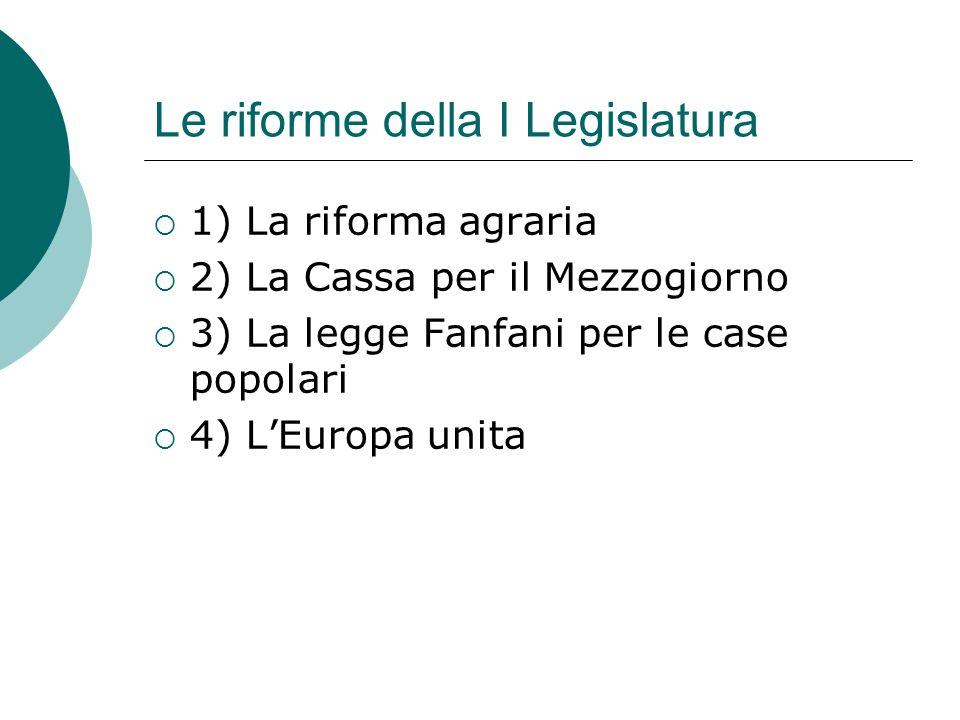 Le riforme della I Legislatura