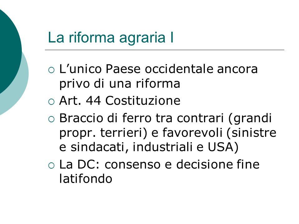 La riforma agraria I L'unico Paese occidentale ancora privo di una riforma. Art. 44 Costituzione.