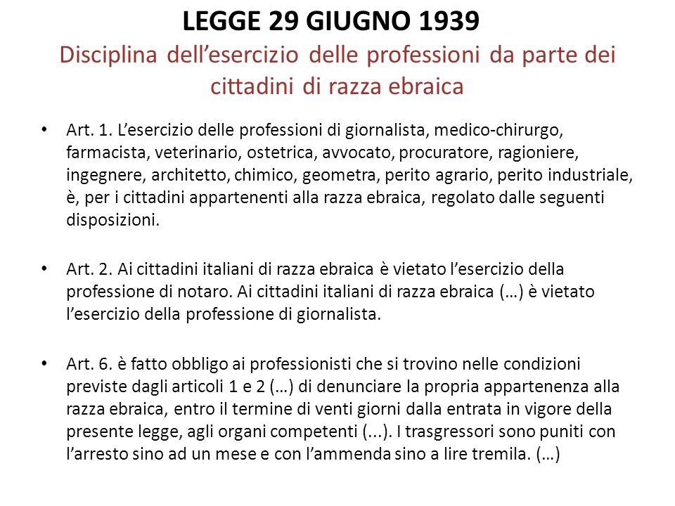 LEGGE 29 GIUGNO 1939 Disciplina dell'esercizio delle professioni da parte dei cittadini di razza ebraica