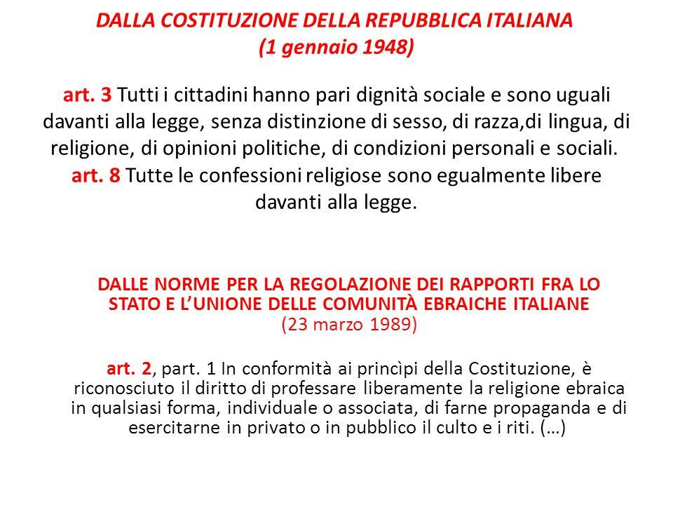 DALLA COSTITUZIONE DELLA REPUBBLICA ITALIANA (1 gennaio 1948) art