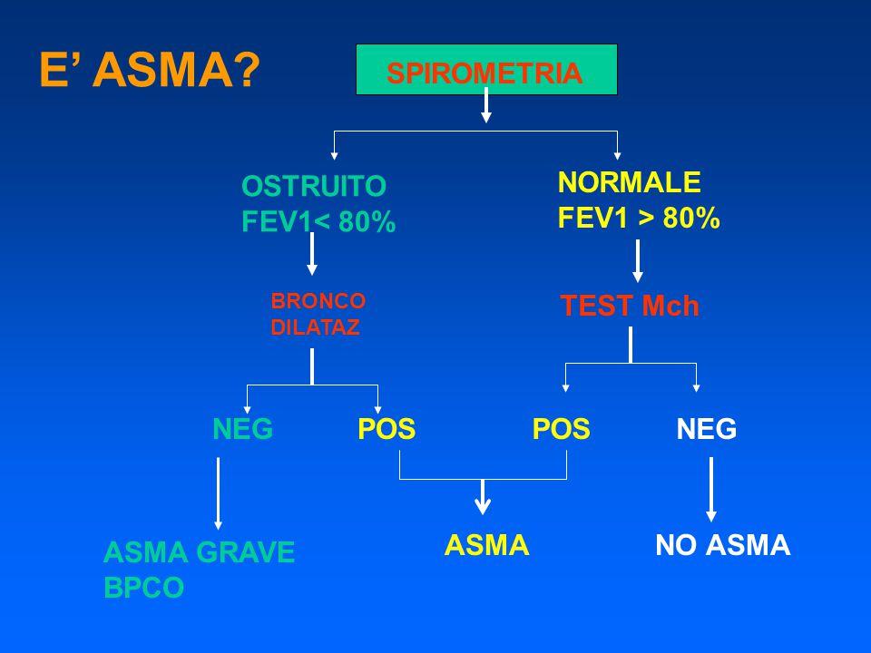 E' ASMA SPIROMETRIA OSTRUITO FEV1< 80% NORMALE FEV1 > 80%