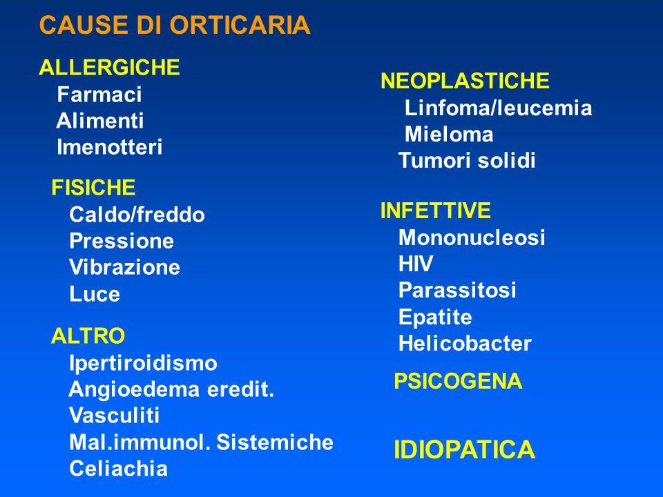 CAUSE DI ORTICARIA IDIOPATICA ALLERGICHE Farmaci NEOPLASTICHE Alimenti
