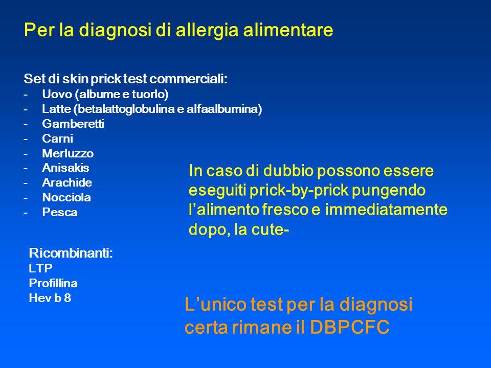 Per la diagnosi di allergia alimentare