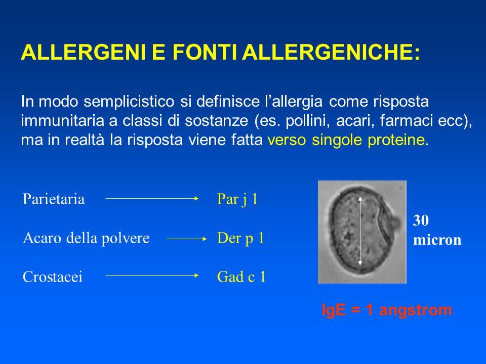 ALLERGENI E FONTI ALLERGENICHE:
