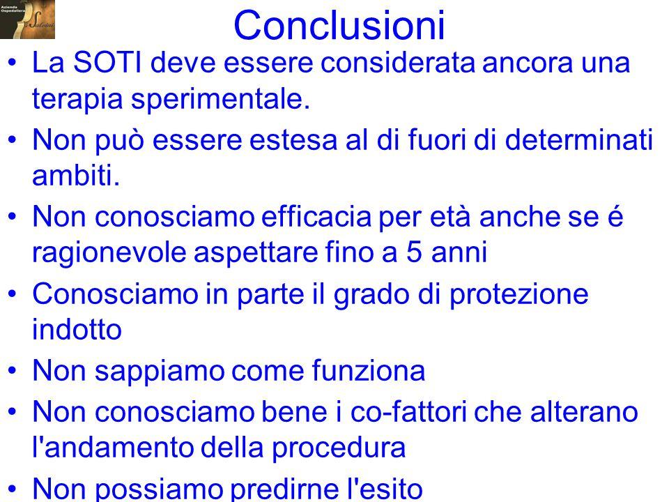 Conclusioni La SOTI deve essere considerata ancora una terapia sperimentale. Non può essere estesa al di fuori di determinati ambiti.