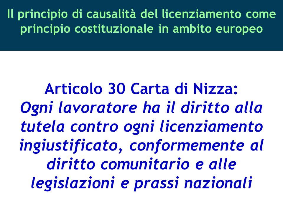 Il principio di causalità del licenziamento come principio costituzionale in ambito europeo