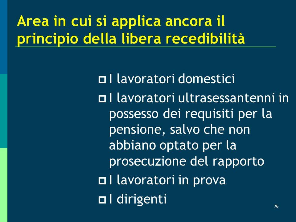 Area in cui si applica ancora il principio della libera recedibilità