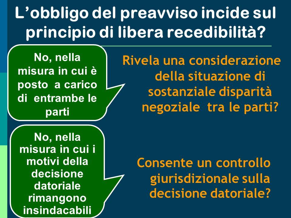 L'obbligo del preavviso incide sul principio di libera recedibilità