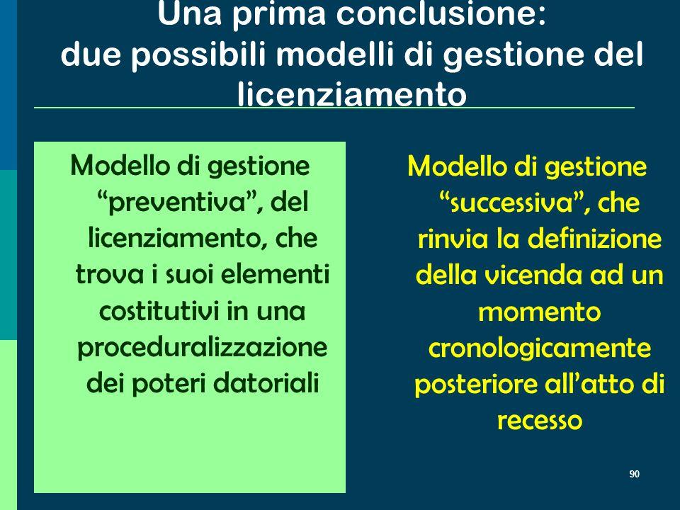 Una prima conclusione: due possibili modelli di gestione del licenziamento