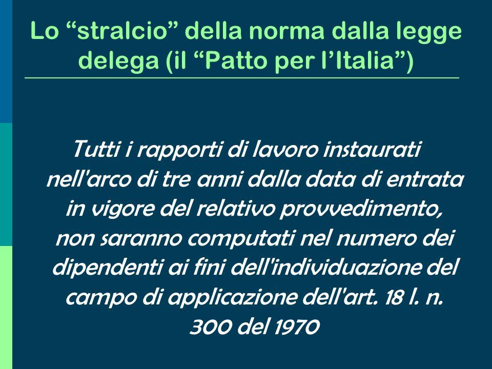 Lo stralcio della norma dalla legge delega (il Patto per l'Italia )