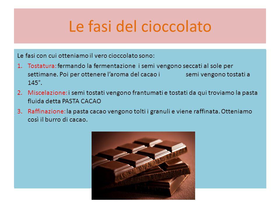 Le fasi del cioccolato Le fasi con cui otteniamo il vero cioccolato sono: