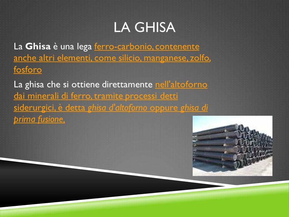 La ghisa La Ghisa è una lega ferro-carbonio, contenente anche altri elementi, come silicio, manganese, zolfo, fosforo.
