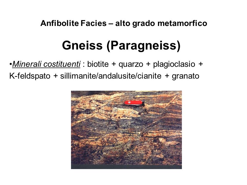 Gneiss (Paragneiss) Anfibolite Facies – alto grado metamorfico