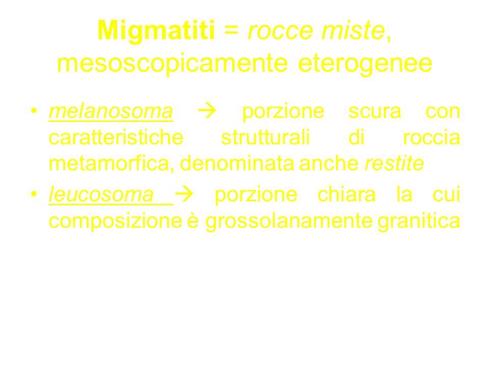 Migmatiti = rocce miste, mesoscopicamente eterogenee