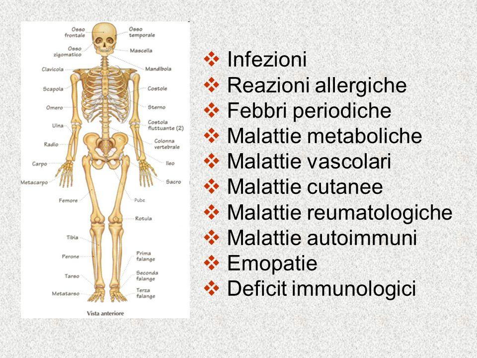 Infezioni Reazioni allergiche. Febbri periodiche. Malattie metaboliche. Malattie vascolari. Malattie cutanee.