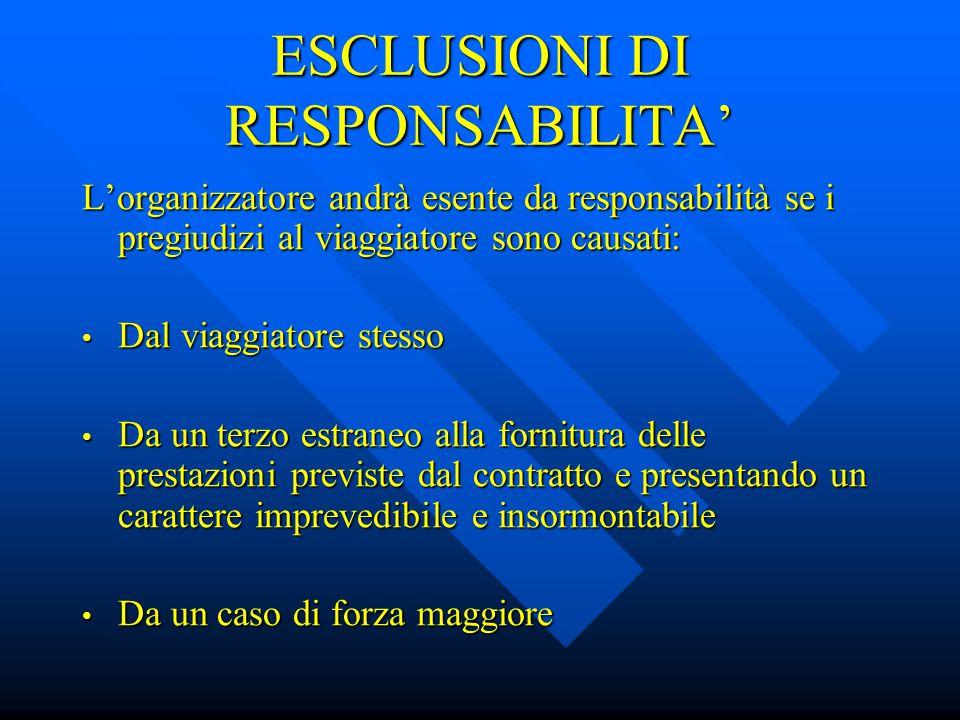 ESCLUSIONI DI RESPONSABILITA'
