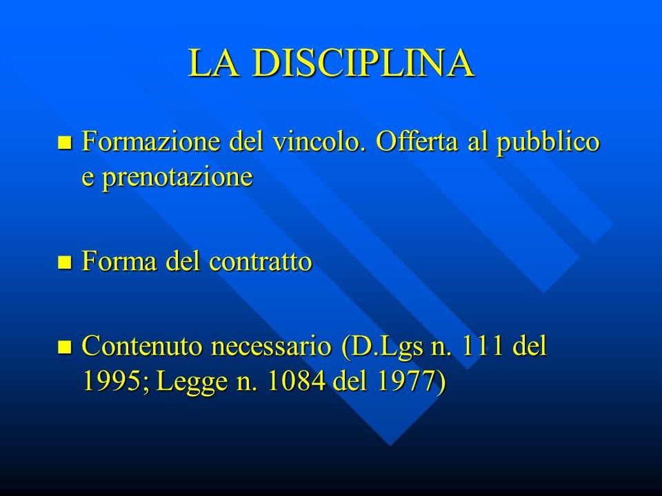 LA DISCIPLINA Formazione del vincolo. Offerta al pubblico e prenotazione. Forma del contratto.