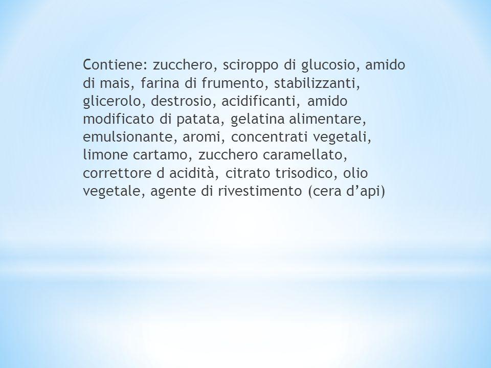 Contiene: zucchero, sciroppo di glucosio, amido di mais, farina di frumento, stabilizzanti, glicerolo, destrosio, acidificanti, amido modificato di patata, gelatina alimentare, emulsionante, aromi, concentrati vegetali, limone cartamo, zucchero caramellato, correttore d acidità, citrato trisodico, olio vegetale, agente di rivestimento (cera d'api)