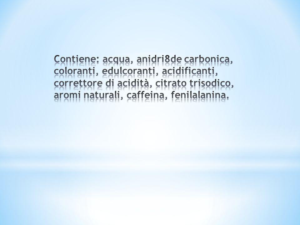 Contiene: acqua, anidri8de carbonica, coloranti, edulcoranti, acidificanti, correttore di acidità, citrato trisodico, aromi naturali, caffeina, fenilalanina.