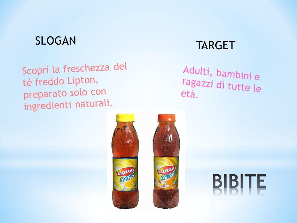 SLOGAN TARGET. Scopri la freschezza del tè freddo Lipton, preparato solo con ingredienti naturali.
