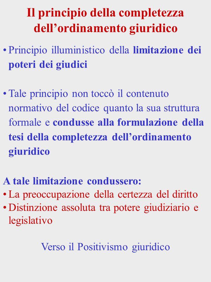Il principio della completezza dell'ordinamento giuridico