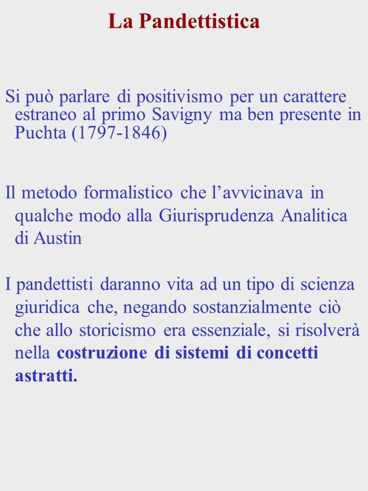 La Pandettistica Si può parlare di positivismo per un carattere estraneo al primo Savigny ma ben presente in Puchta (1797-1846)