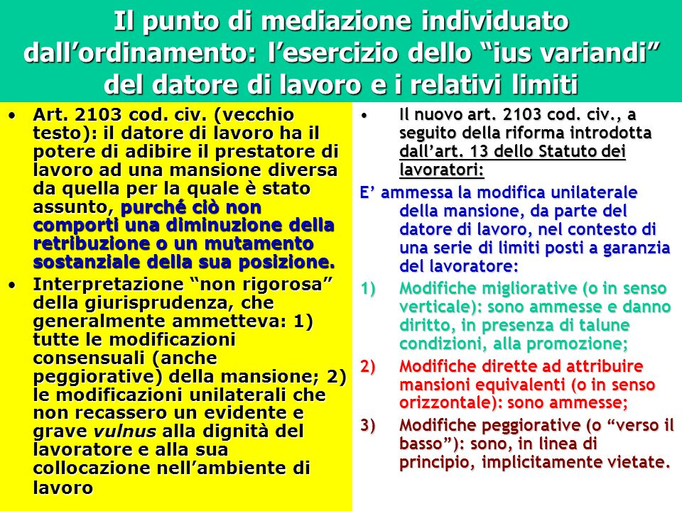 Il punto di mediazione individuato dall'ordinamento: l'esercizio dello ius variandi del datore di lavoro e i relativi limiti