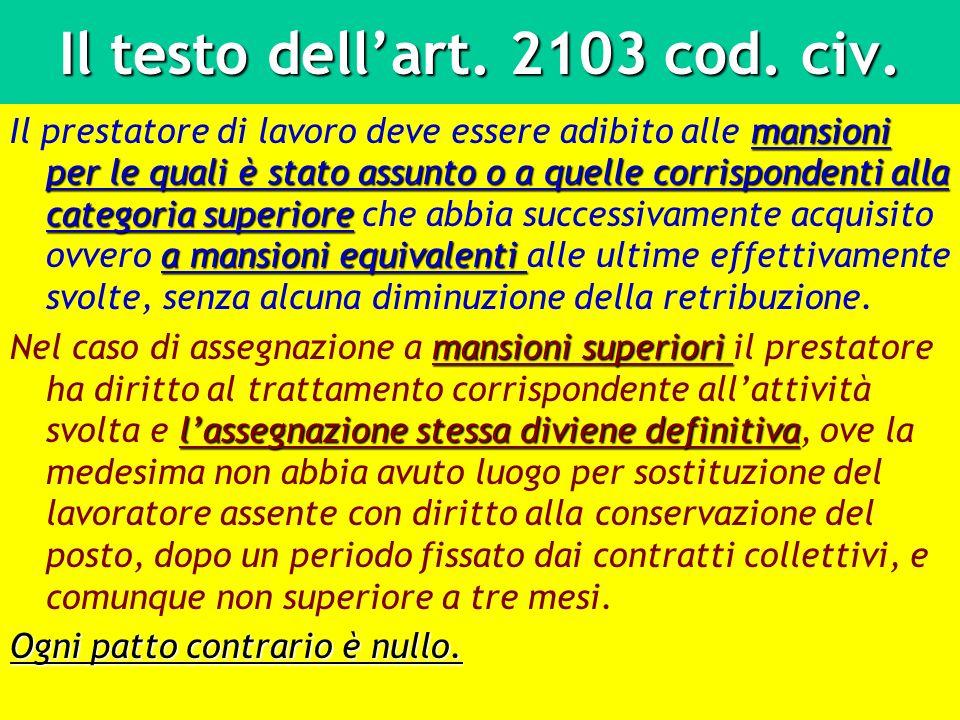 Il testo dell'art. 2103 cod. civ.