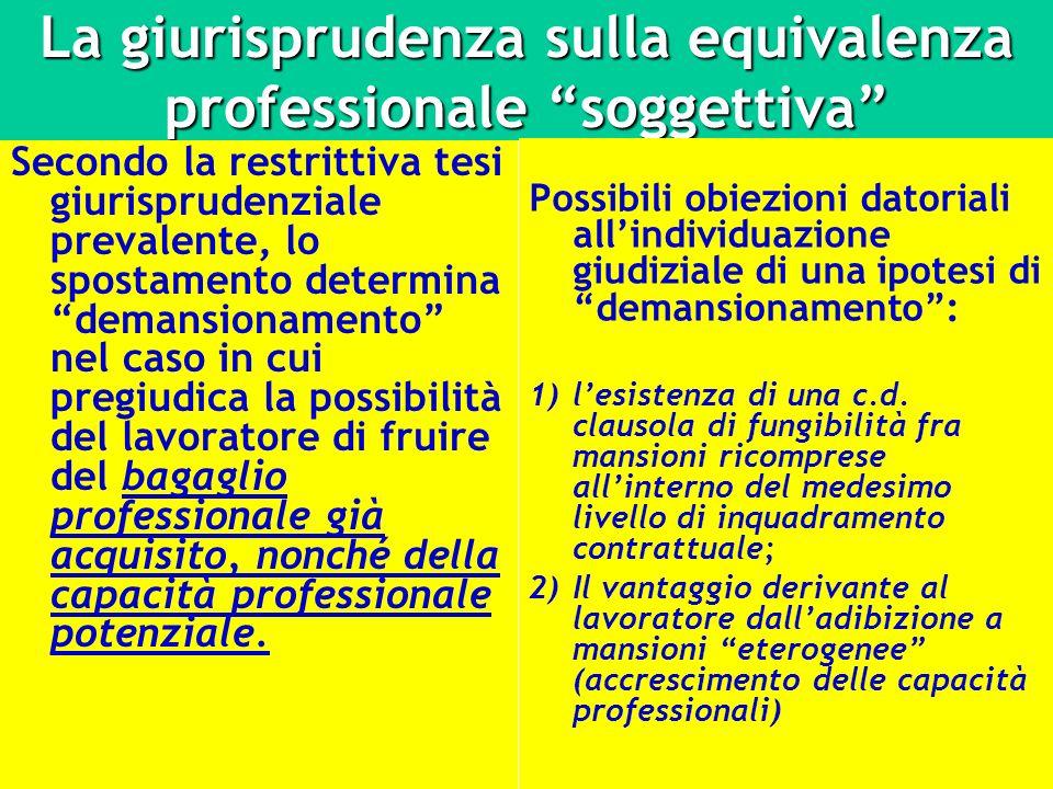 La giurisprudenza sulla equivalenza professionale soggettiva