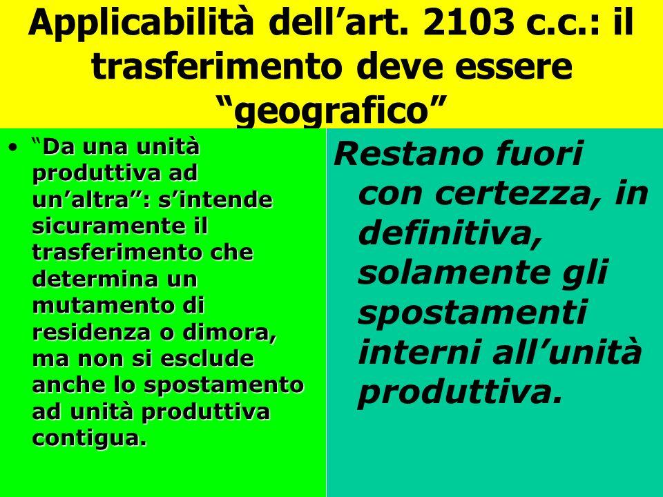 Applicabilità dell'art. 2103 c. c