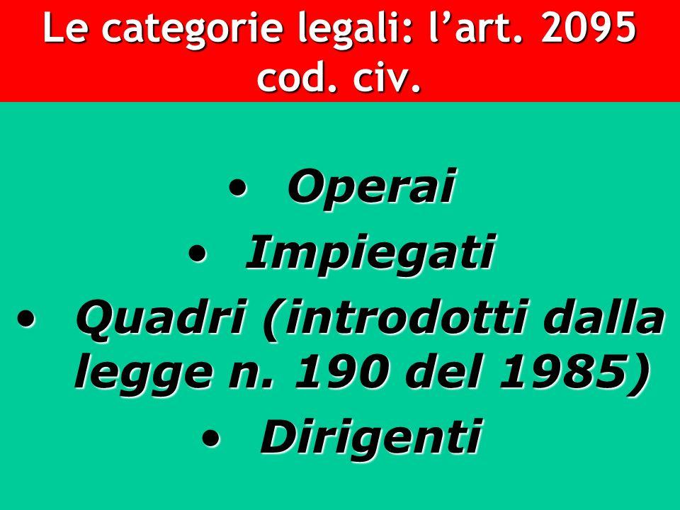 Le categorie legali: l'art. 2095 cod. civ.