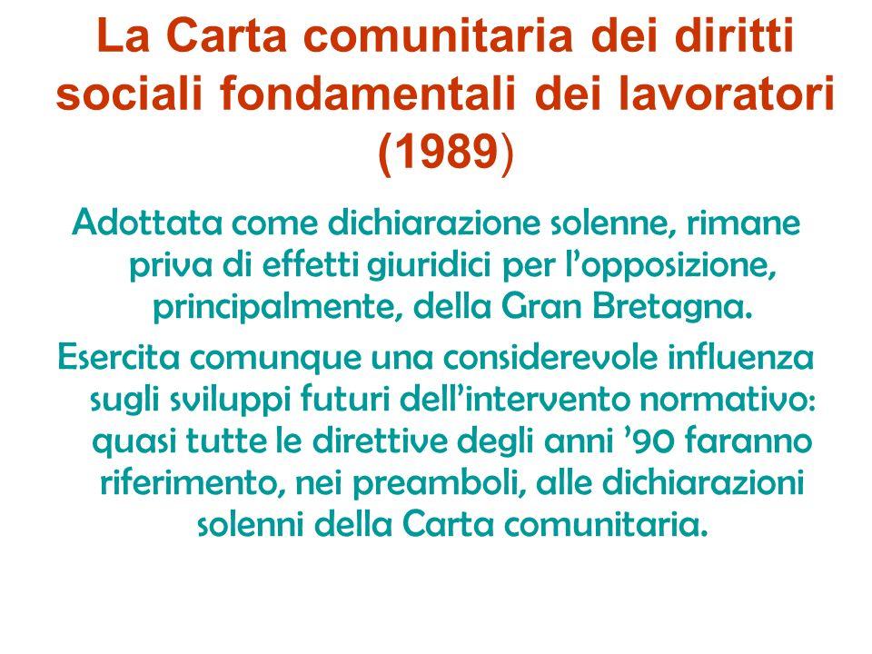 La Carta comunitaria dei diritti sociali fondamentali dei lavoratori (1989)