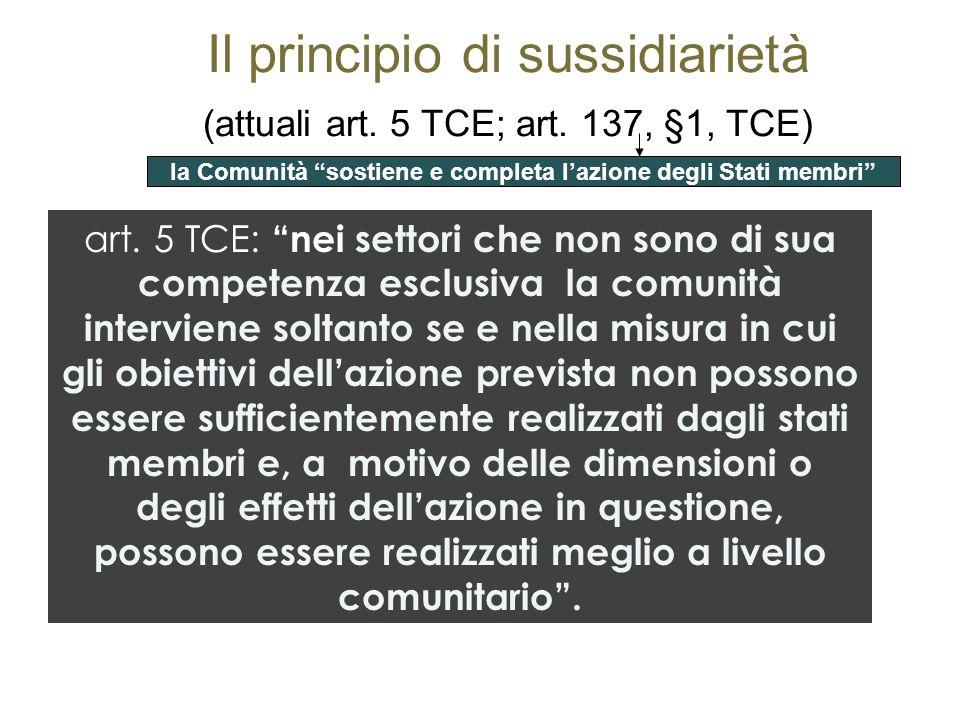 Il principio di sussidiarietà (attuali art. 5 TCE; art. 137, §1, TCE)
