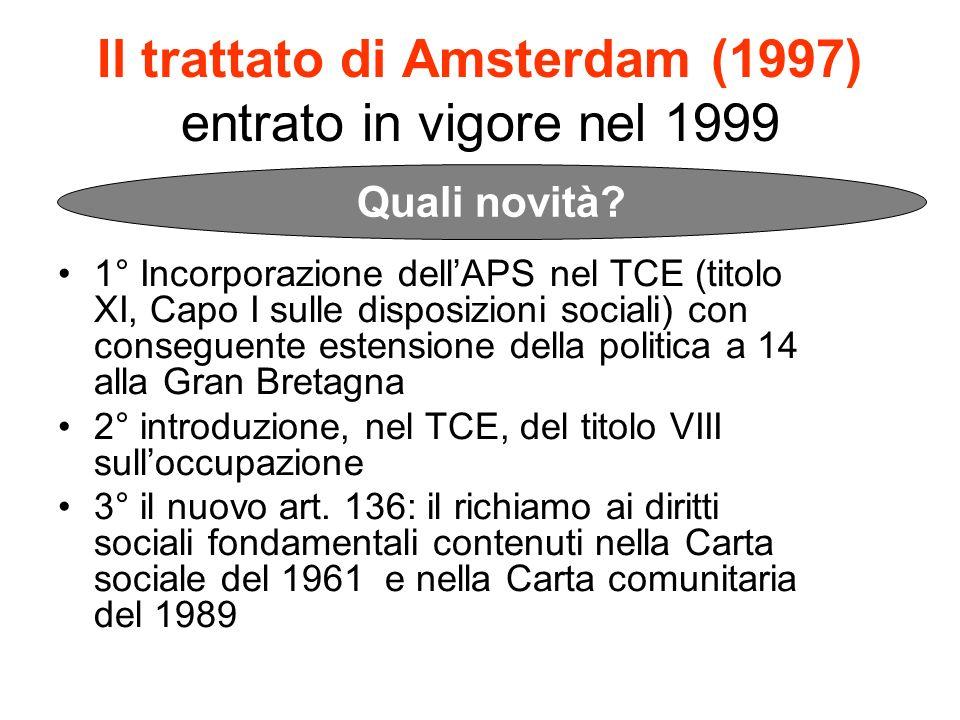 Il trattato di Amsterdam (1997) entrato in vigore nel 1999