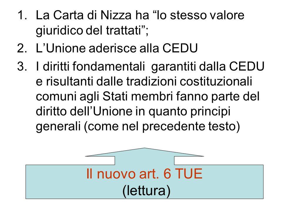 Il nuovo art. 6 TUE (lettura)