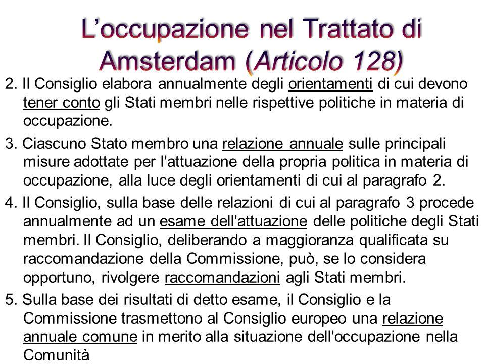 L'occupazione nel Trattato di Amsterdam (Articolo 128)