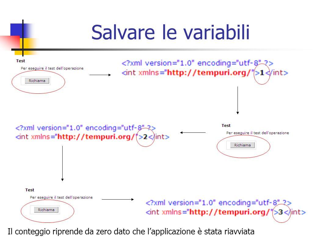 Salvare le variabili Il conteggio riprende da zero dato che l'applicazione è stata riavviata
