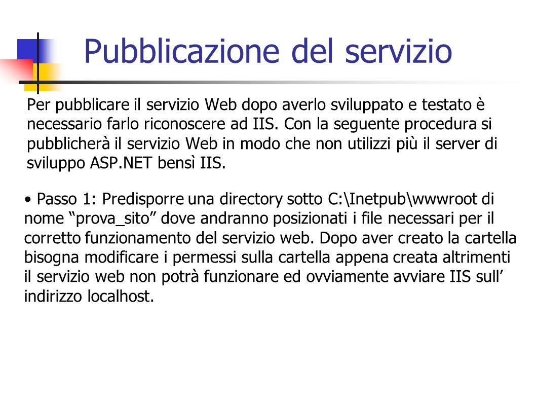 Pubblicazione del servizio
