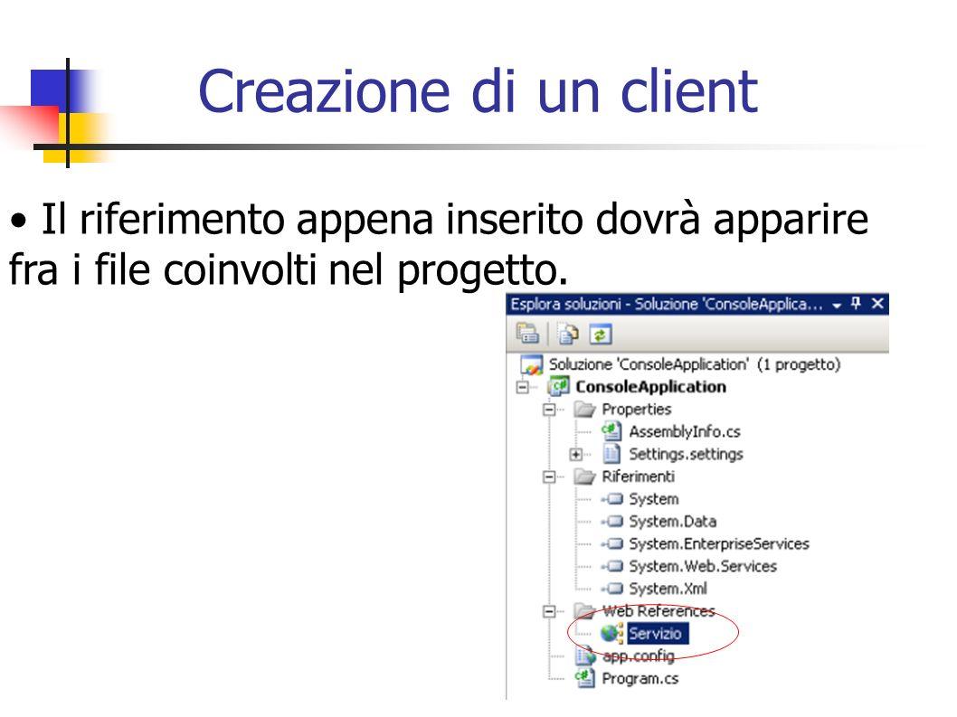 Creazione di un client Il riferimento appena inserito dovrà apparire fra i file coinvolti nel progetto.