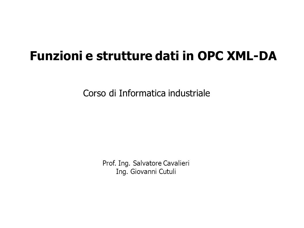 Funzioni e strutture dati in OPC XML-DA