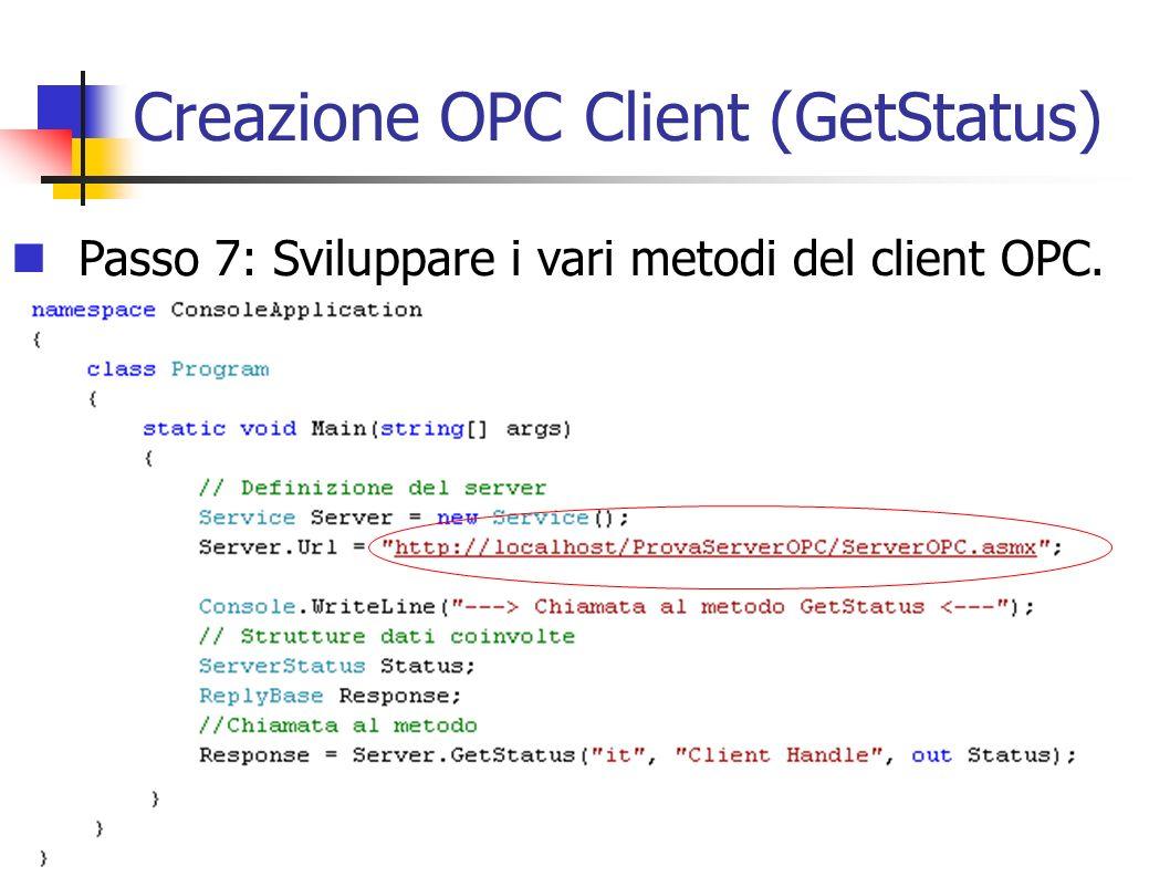 Creazione OPC Client (GetStatus)