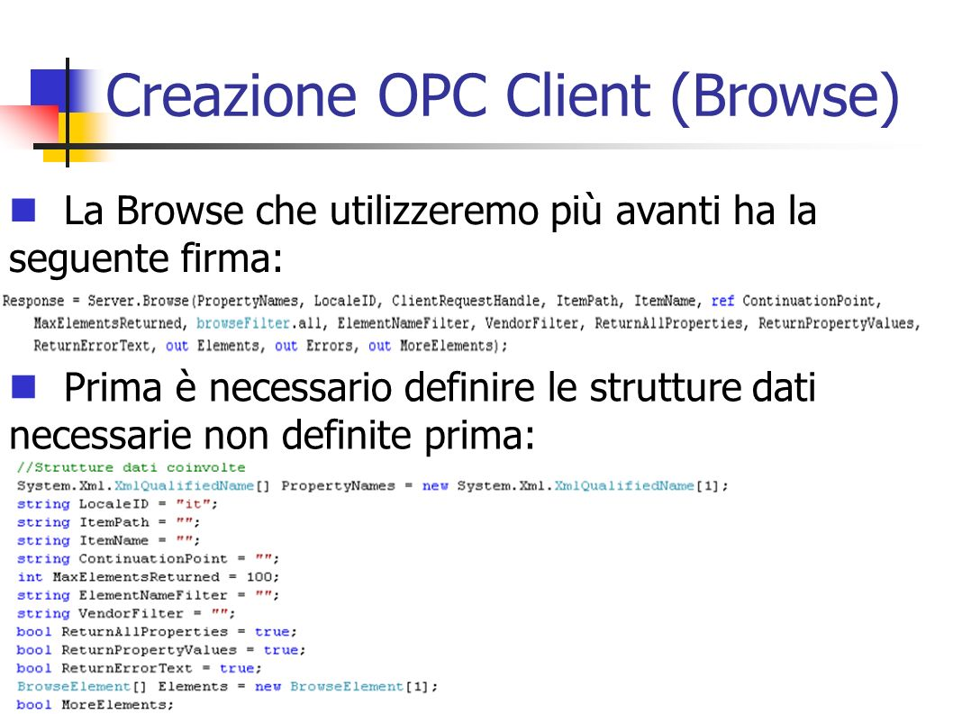 Creazione OPC Client (Browse)