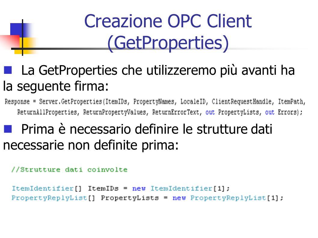 Creazione OPC Client (GetProperties)