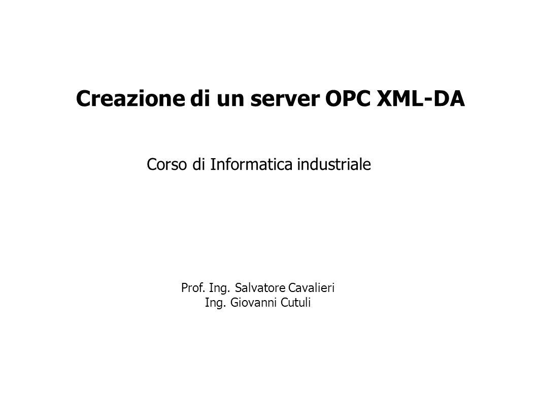Creazione di un server OPC XML-DA