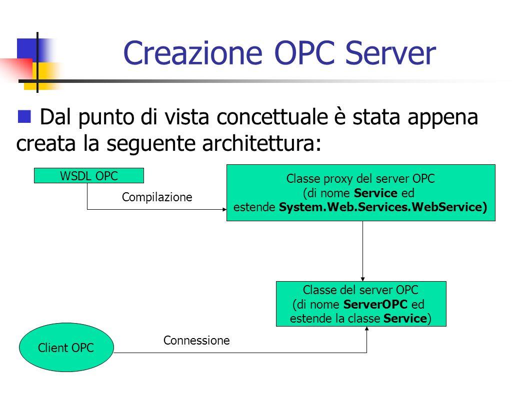 Creazione OPC Server Dal punto di vista concettuale è stata appena creata la seguente architettura: