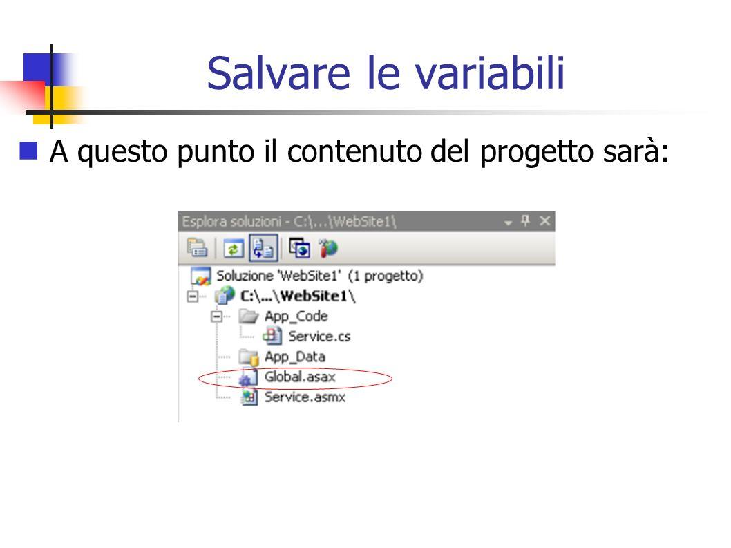 Salvare le variabili A questo punto il contenuto del progetto sarà: